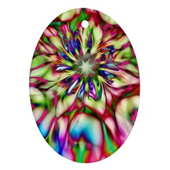 Magic Fractal Flower Multicolored Oval Ornament (Two Sides)