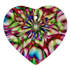 Magic Fractal Flower Multicolored Heart Ornament (Two Sides)