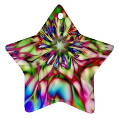 Magic Fractal Flower Multicolored Star Ornament (Two Sides)