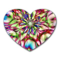 Magic Fractal Flower Multicolored Heart Mousepads