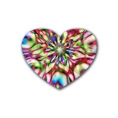 Magic Fractal Flower Multicolored Rubber Coaster (Heart)