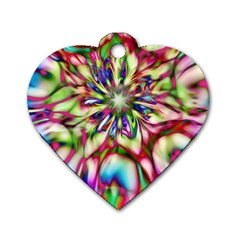 Magic Fractal Flower Multicolored Dog Tag Heart (Two Sides)
