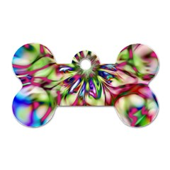 Magic Fractal Flower Multicolored Dog Tag Bone (One Side)