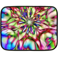 Magic Fractal Flower Multicolored Double Sided Fleece Blanket (Mini)