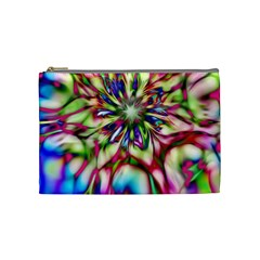 Magic Fractal Flower Multicolored Cosmetic Bag (Medium)