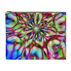 Magic Fractal Flower Multicolored Cosmetic Bag (XL)