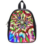 Magic Fractal Flower Multicolored School Bags (Small)  Front