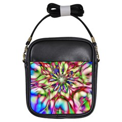 Magic Fractal Flower Multicolored Girls Sling Bags