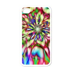 Magic Fractal Flower Multicolored Apple iPhone 4 Case (White)