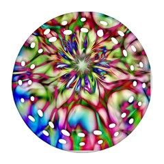 Magic Fractal Flower Multicolored Round Filigree Ornament (Two Sides)