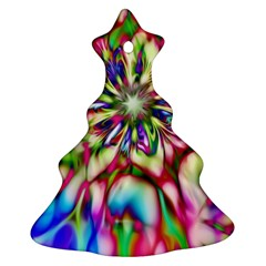 Magic Fractal Flower Multicolored Christmas Tree Ornament (Two Sides)