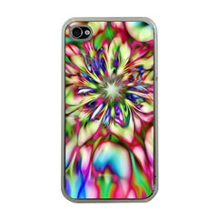 Magic Fractal Flower Multicolored Apple iPhone 4 Case (Clear)