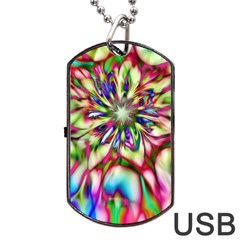 Magic Fractal Flower Multicolored Dog Tag USB Flash (Two Sides)