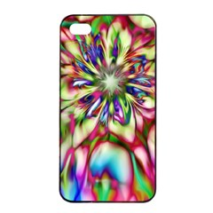 Magic Fractal Flower Multicolored Apple iPhone 4/4s Seamless Case (Black)