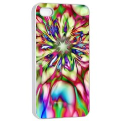 Magic Fractal Flower Multicolored Apple iPhone 4/4s Seamless Case (White)
