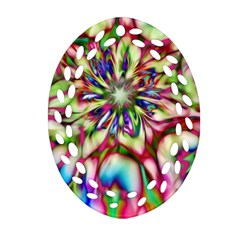 Magic Fractal Flower Multicolored Oval Filigree Ornament (Two Sides)