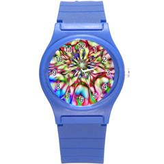 Magic Fractal Flower Multicolored Round Plastic Sport Watch (S)