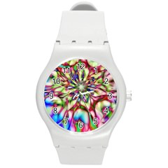 Magic Fractal Flower Multicolored Round Plastic Sport Watch (M)