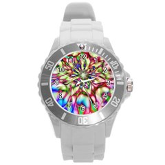 Magic Fractal Flower Multicolored Round Plastic Sport Watch (L)