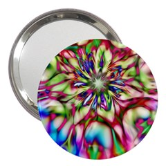 Magic Fractal Flower Multicolored 3  Handbag Mirrors