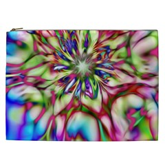 Magic Fractal Flower Multicolored Cosmetic Bag (XXL)