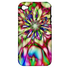 Magic Fractal Flower Multicolored Apple iPhone 4/4S Hardshell Case (PC+Silicone)