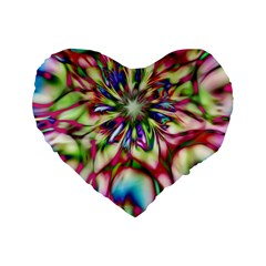 Magic Fractal Flower Multicolored Standard 16  Premium Heart Shape Cushions