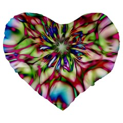 Magic Fractal Flower Multicolored Large 19  Premium Heart Shape Cushions