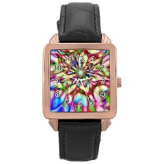 Magic Fractal Flower Multicolored Rose Gold Leather Watch