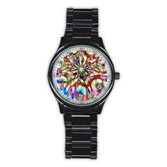 Magic Fractal Flower Multicolored Stainless Steel Round Watch
