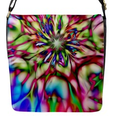 Magic Fractal Flower Multicolored Flap Messenger Bag (S)