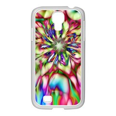 Magic Fractal Flower Multicolored Samsung GALAXY S4 I9500/ I9505 Case (White)