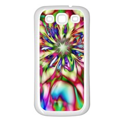 Magic Fractal Flower Multicolored Samsung Galaxy S3 Back Case (White)