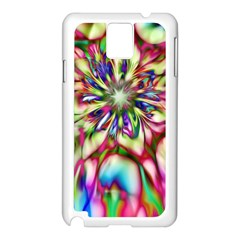 Magic Fractal Flower Multicolored Samsung Galaxy Note 3 N9005 Case (White)