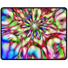 Magic Fractal Flower Multicolored Double Sided Fleece Blanket (Medium)