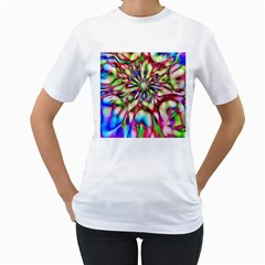Magic Fractal Flower Multicolored Women s T-Shirt (White)