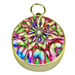 Magic Fractal Flower Multicolored Gold Compasses