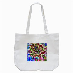 Magic Fractal Flower Multicolored Tote Bag (White)