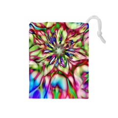 Magic Fractal Flower Multicolored Drawstring Pouches (Medium)