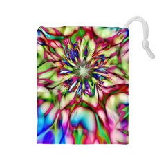 Magic Fractal Flower Multicolored Drawstring Pouches (Large)