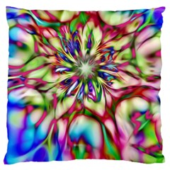 Magic Fractal Flower Multicolored Large Flano Cushion Case (One Side)