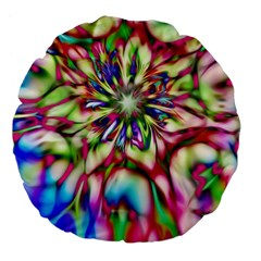 Magic Fractal Flower Multicolored Large 18  Premium Flano Round Cushions