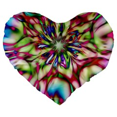 Magic Fractal Flower Multicolored Large 19  Premium Flano Heart Shape Cushions