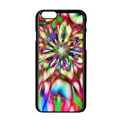 Magic Fractal Flower Multicolored Apple iPhone 6/6S Black Enamel Case