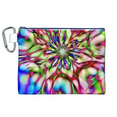 Magic Fractal Flower Multicolored Canvas Cosmetic Bag (XL)
