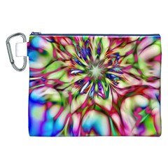 Magic Fractal Flower Multicolored Canvas Cosmetic Bag (XXL)