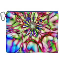 Magic Fractal Flower Multicolored Canvas Cosmetic Bag (XXXL)