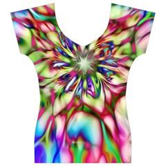 Magic Fractal Flower Multicolored Women s V-Neck Cap Sleeve Top