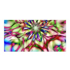 Magic Fractal Flower Multicolored Satin Wrap