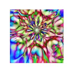 Magic Fractal Flower Multicolored Small Satin Scarf (Square)
